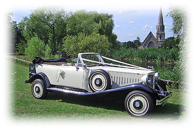 Stunning ivory and black vintage Beauford Tourer.  London Wedding Car Hire company