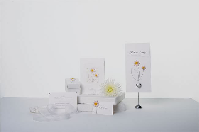Wedding Stationery London, London Wedding stationers create Daisy wedding cards, table plans, seating plans,table numbers, favours