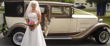 Bride stepping out of Regency Car