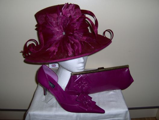 Wedding hat, wedding shoes and matching wedding handbag from London Hat company